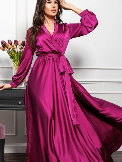 Яркое вечернее платье фуксия с запахом, фото 1