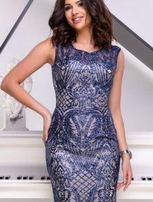 Вечернее длинное силуэтное платье синего цвета с напылением