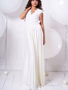 Вечернее белое вечернее кружевное платье футляр без рукавов со съемной шифоновой юбкой