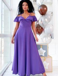 Длинное летнее фиолетовое платье на запах тонкие бретели на завязках