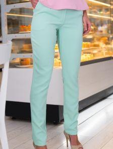 Мятные классические зауженные брюки на низкой посадке