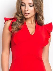 Классическое красное платье с воланом
