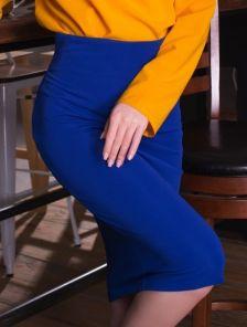 Трикотажная юбка на молнии цвета электирик