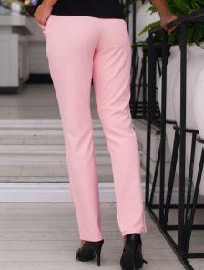 Пудровые классические зауженные брюки на низкой посадке