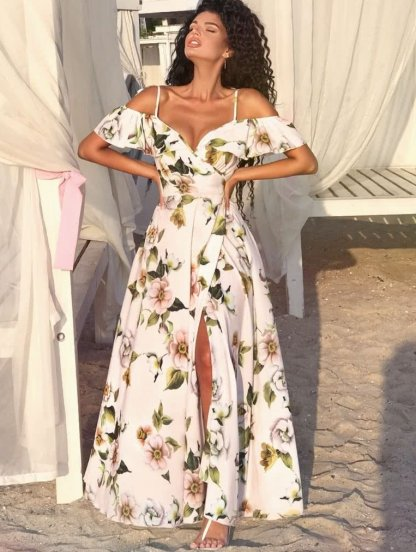 Длинное светлое летнее цветочное платье с открытыми плечами, фото 1