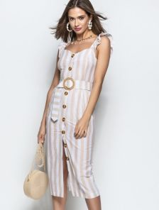 Ретро платье миди длины с квадратным декольте в полоску
