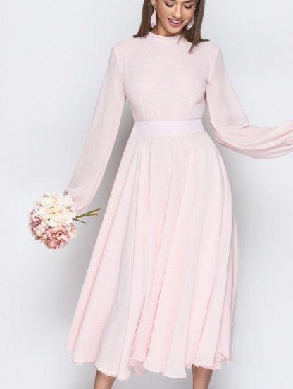 Розовое шифоновое летнее платье с открытой спинкой на длинный рукав, фото 1