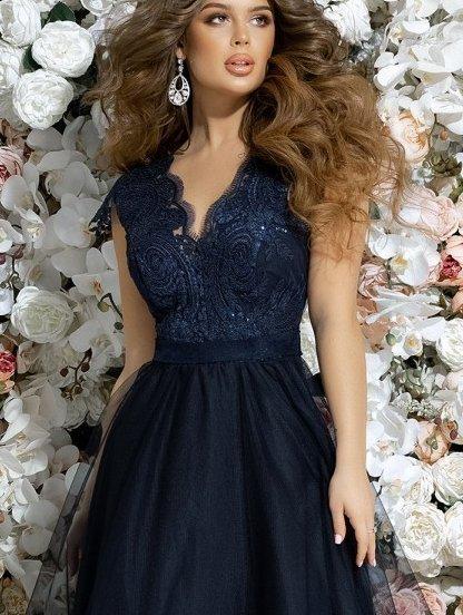 Вечернее синее платье с кружевом, фото 1