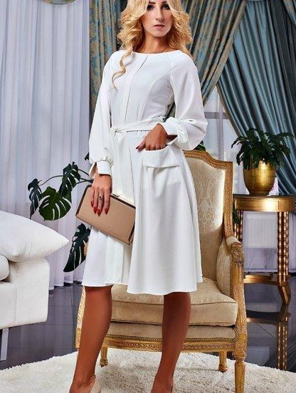 Белое коктейльное платье с пышными рукавами на манжетах, фото 1