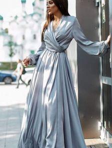 Вечернее серебристое платье