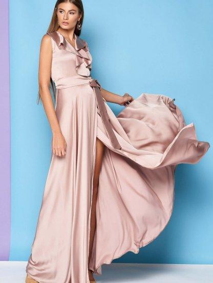 Нарядное шелковое бежевое платье с V образным вырезом и воланом, фото 1