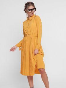 Платье с плиссированной юбкой с длинным рукавом на завязках в желтом