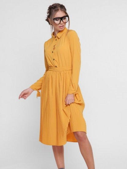 Платье с плиссированной юбкой с длинным рукавом на завязках в желтом, фото 1
