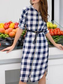 Платье-рубашка миди с рукавом трансформер капюшоном и поясом