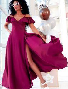 Длинное летнее бордовое платье на бретелях на запах