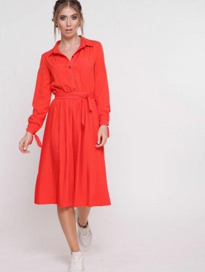 Платье с плиссированной юбкой с длинным рукавом на завязках в оранжевом цвете, фото 1