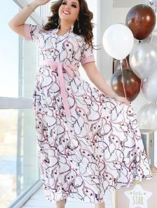 Длинное летнее плаття-рубашка большого размера с коротким рукавом с манжетами