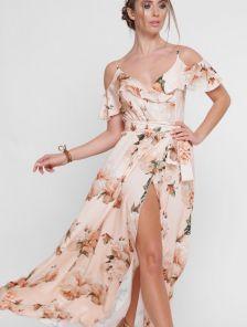 Длинное летнее платье с цветами и воланами