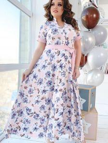 Длинное летнее платье большого размера с коротким рукавом с манжетами