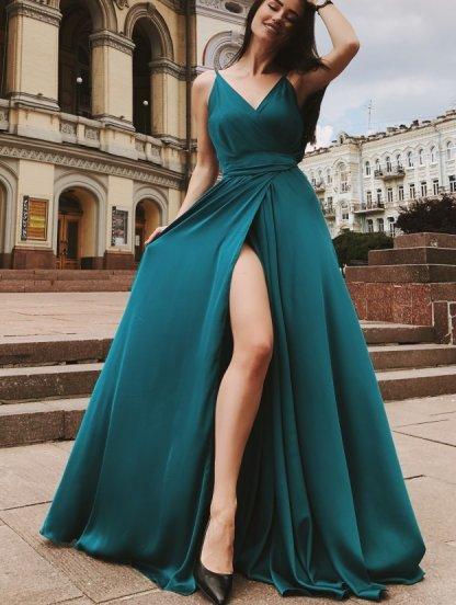 Красивое зелёное шелковое платье в пол, фото 1