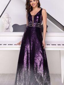 Вечернее фиолетовое длинное платье с декольте