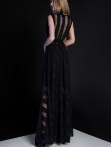 Длинное нарядное черное платье без рукавов под пояс с перфорацией