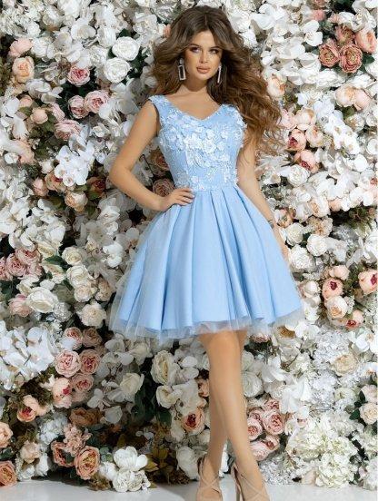 Неотразимое коктейльное платье с глубоким вырезом без рукавов и юбкой хвостом, фото 1
