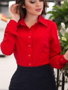 Красная классическая рубашка на длинный рукав