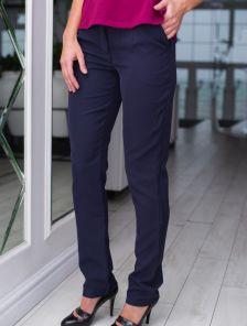 Синие классические зауженные брюки на низкой посадке
