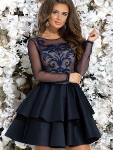 Коктейльное короткое синее платье с вышивкой