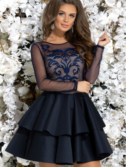 Коктейльное короткое синее платье с вышивкой, фото 1