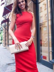 Красное платье футляр длины миди без рукавов