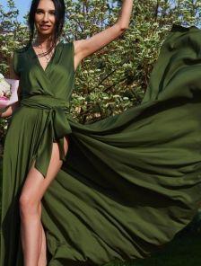 Вечернее зелёное платье