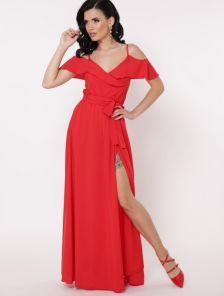 Красное нарядное вечерне платье в пол