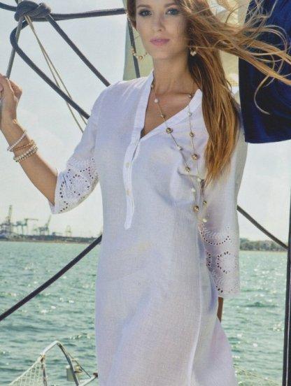 Белое длинное летнее платье из хлопка с пуговичками на рукав 3/4, фото 1