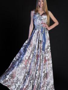 Шелковое длинное платье в цветы под пояс