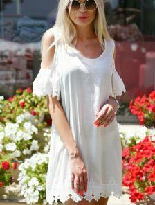Белое летнее льняное платье туника