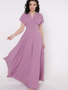 Длинное летнее платье с V образным вырезом