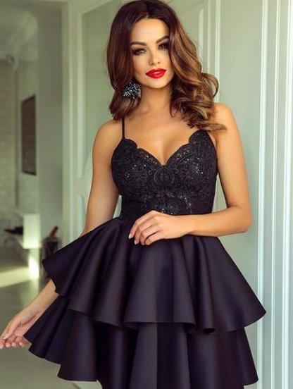 Черное короткое платье с пышной юбкой, фото 1