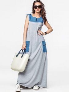 Длинное платье в пол без рукавов с карманами