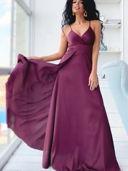 Шелковое платье цвета марсала в пол с открытым декольте и разрезом, фото 1