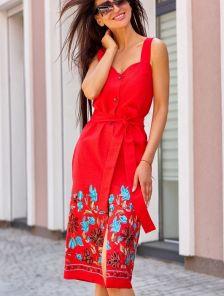 Красное платье сарафан из льна длины миди с вышивкой и карманами