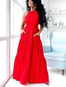 Красное нарядное платье А-силуэта в пол с карманами