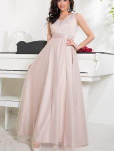 Вечернее атласное платье в пол с расклешенной юбкой с поясом