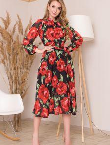 Шифоновое платье с круглой горловиной на завязках с длинным рукавом на манжете