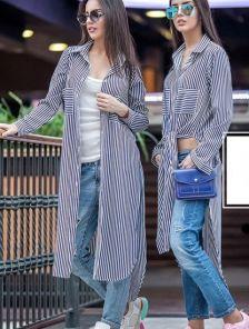 Длинная блуза рубашка в полоску