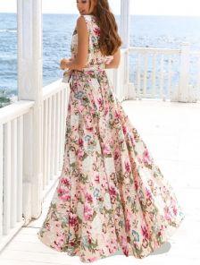 Длинное летнее платье с цветочным принитом и поясом