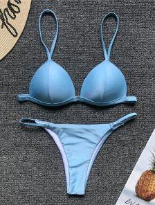 Голубой раздельный купальни с трусиками на резинке