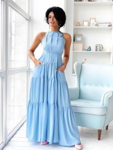 Нарядное голубое длинное платье с карманами A-силуэта