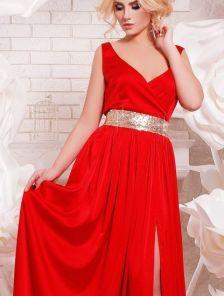 Вечернее и нарядное красное платье в пол